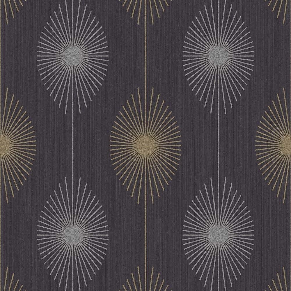 Fine Decor Geo Starburst Glitter Wallpaper Black Silver
