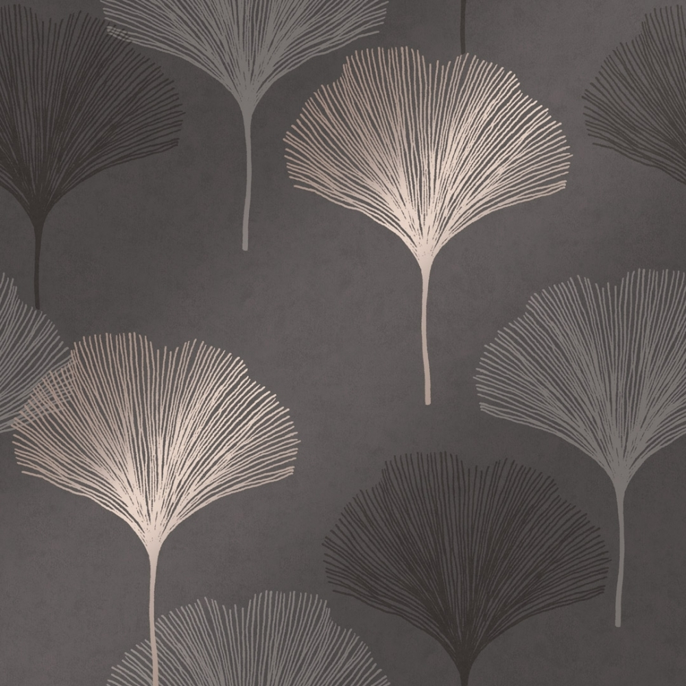 Gingko Leaf Wallpaper Charcoal Gold Wallpaper From I