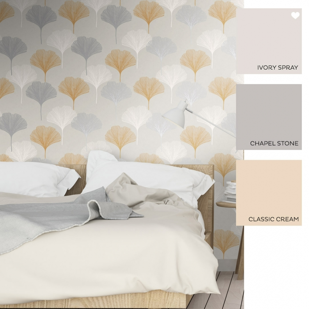Astonishing Gingko Leaf Wallpaper Grey Yellow Beutiful Home Inspiration Xortanetmahrainfo