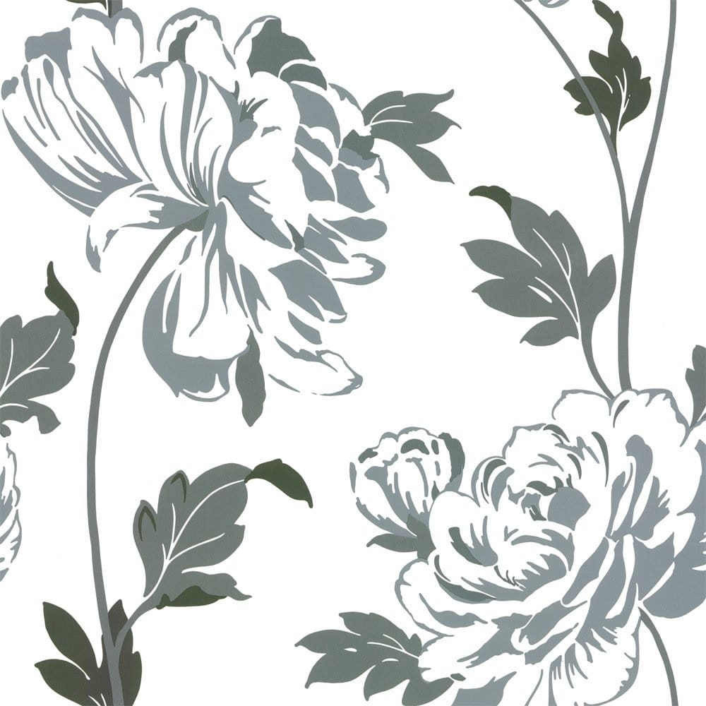 Designer Selection Glam Floral Wallpaper Charcoal Grey