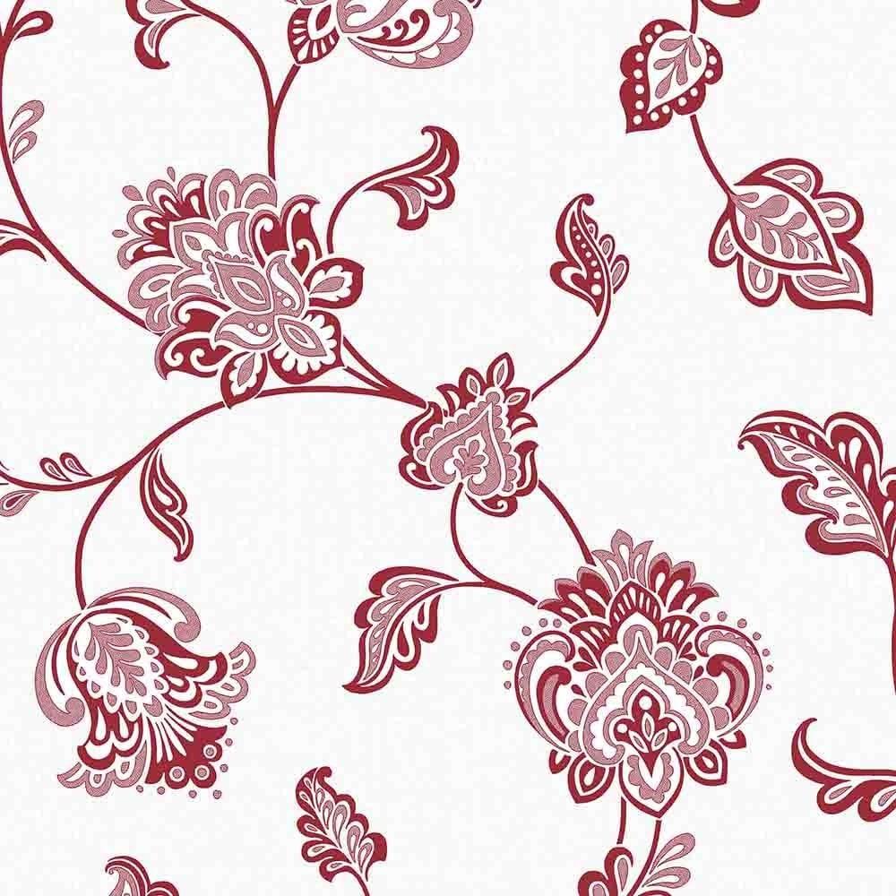 Fine Decor Glamour Glitter Floral Wallpaper Red White