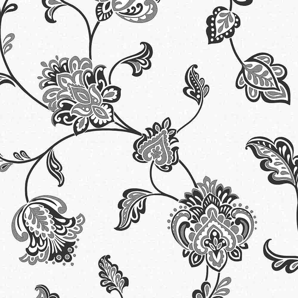 Fine Decor Glamour Glitter Floral Wallpaper White Black