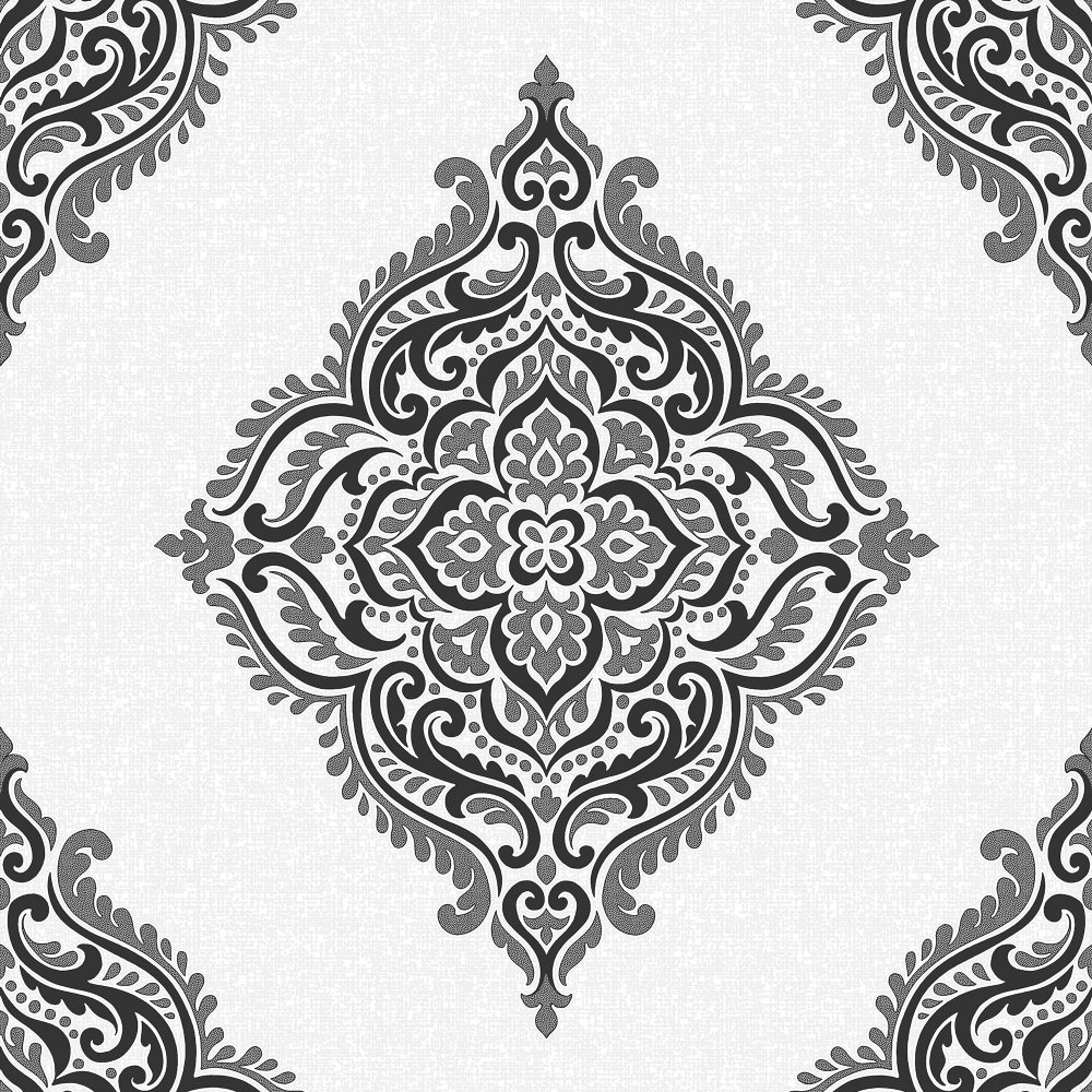 Fine decor glamour medallion damask wallpaper white for Black white damask wallpaper mural