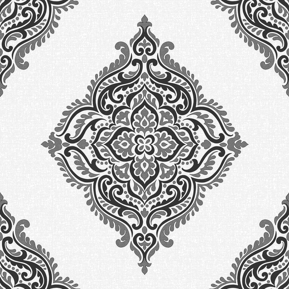 fine decor glamour medallion damask wallpaper white. Black Bedroom Furniture Sets. Home Design Ideas