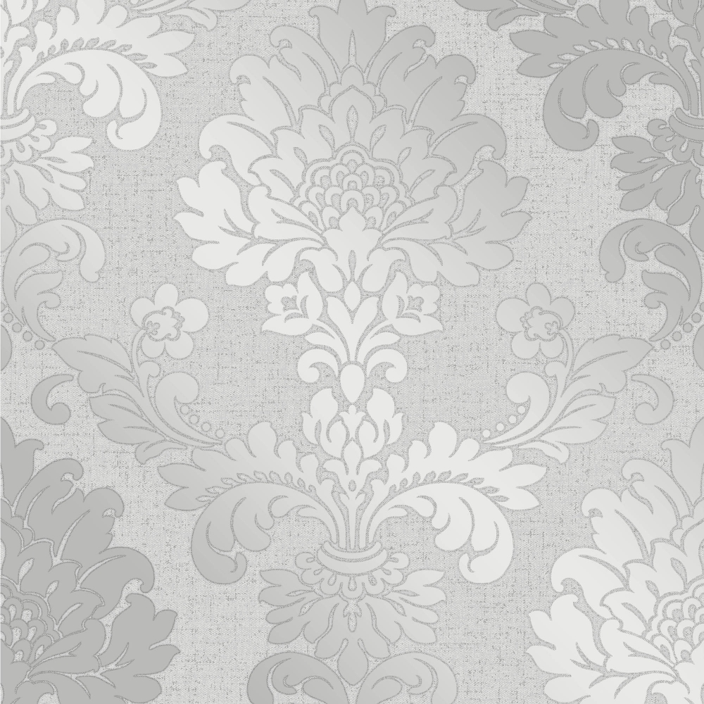 I Love Wallpaper Glisten Damask Wallpaper Silver