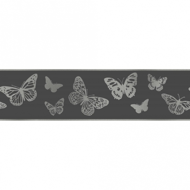 Fine Decor Glitz Butterfly Glitter Wallpaper Border Black