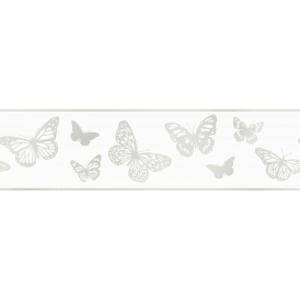 Glitz Butterfly Glitter Wallpaper Border White / Silver (DLB50134)