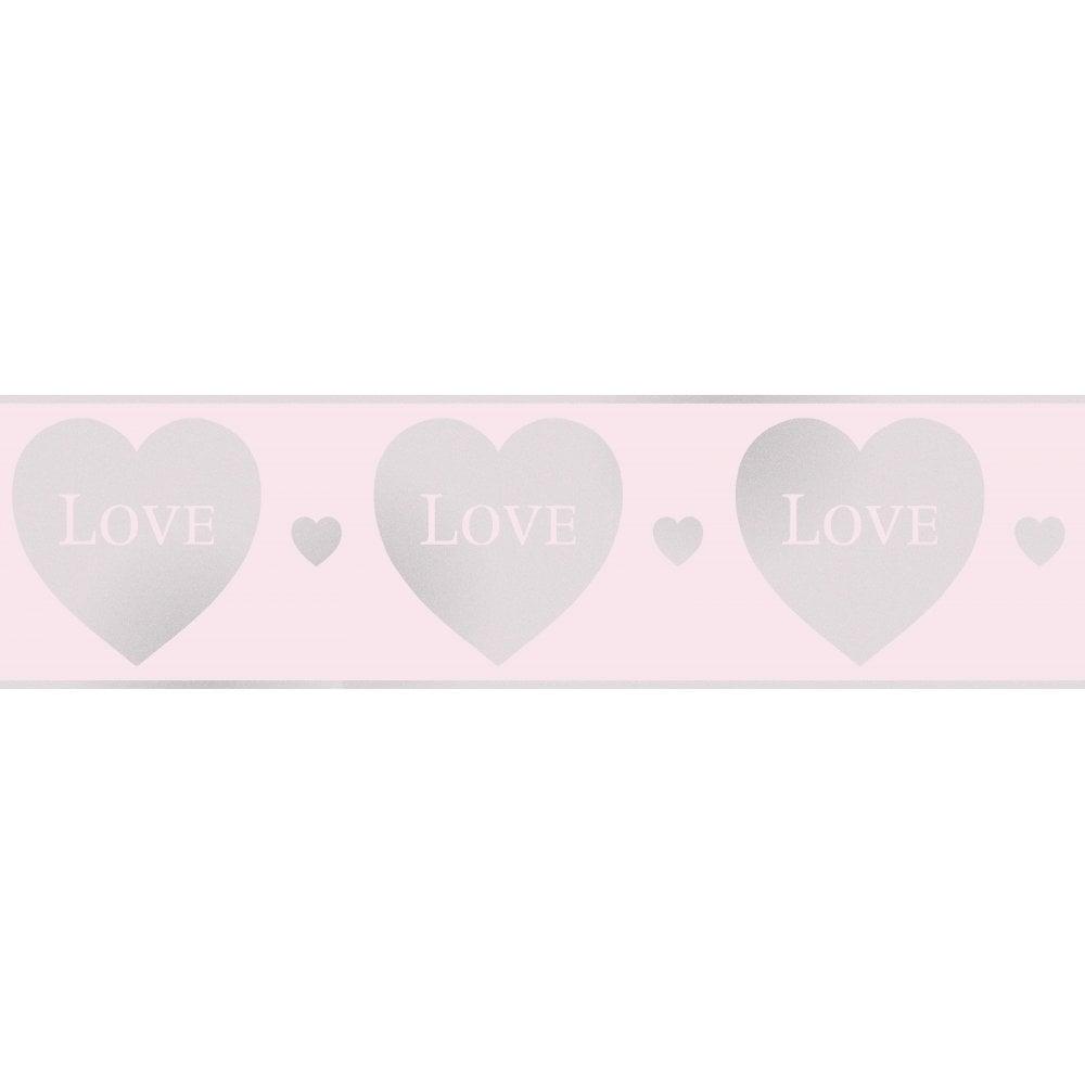 Fine Decor Glitz Hearts Glitter Wallpaper Border Pink Silver Dlb50153