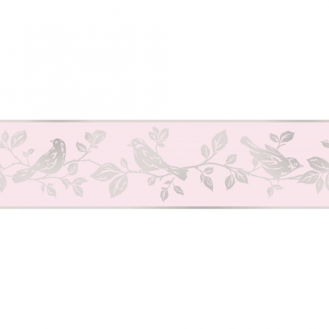 Fine Decor Glitz Leaf & Bird Glitter Wallpaper Border Pink / Silver (DLB50150)