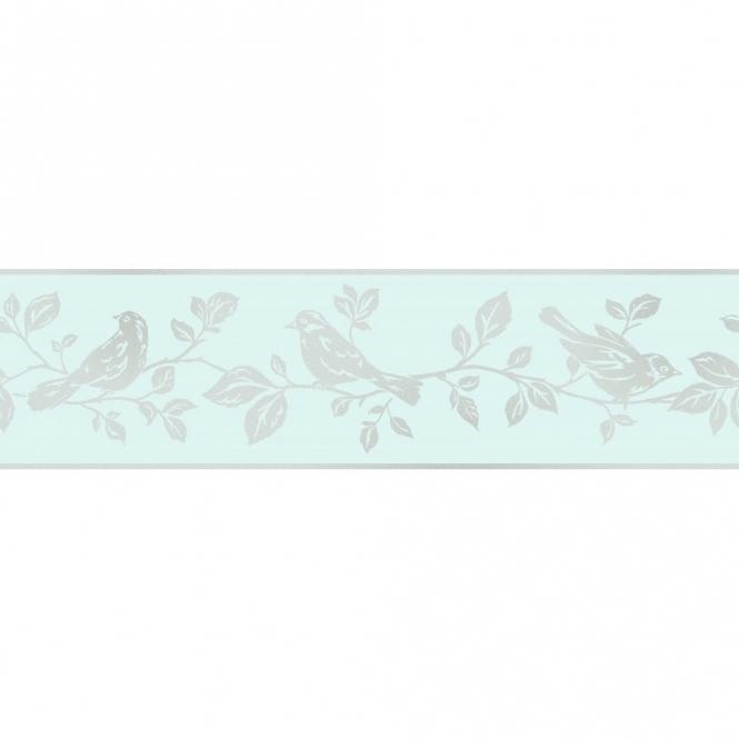 Fine Decor Glitz Leaf Amp Bird Glitter Wallpaper Border Teal