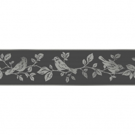Glitz Leaf & Birds Glitter Wallpaper Border Black / Silver (DLB50140)