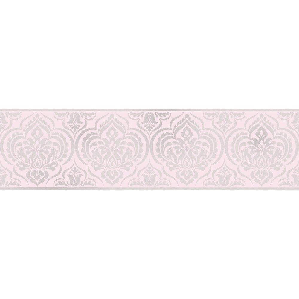 Glitz Ornamental Damask Glitter Wallpaper Border Pink Silver Dlb50152