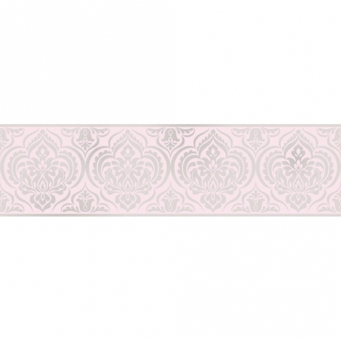 Fine Decor Glitz Ornamental Damask Glitter Wallpaper Border Pink / Silver (DLB50152)