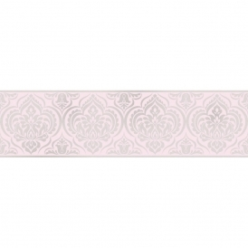 Glitz Ornamental Damask Glitter Wallpaper Border Pink / Silver (DLB50152)