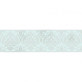Glitz Ornamental Damask Glitter Wallpaper Border Teal / Silver (DLB50147)