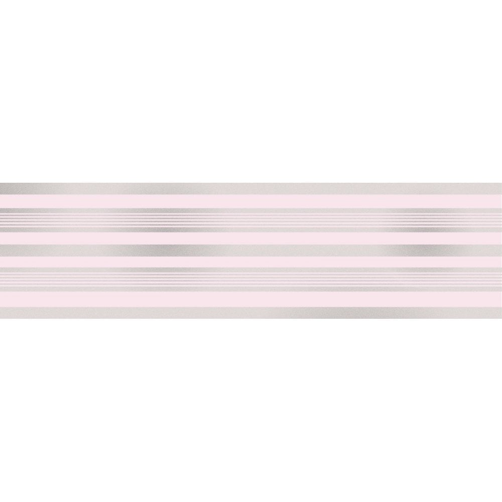 Fine Decor Glitz Striped Glitter Wallpaper Border Pink Silver
