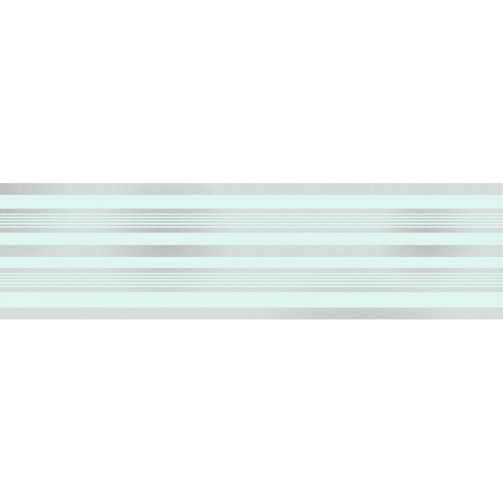 Glitz Striped Glitter Wallpaper Border Teal Silver