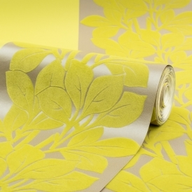 Goa Leaf Trail Flock Wallpaper Acid Yellow