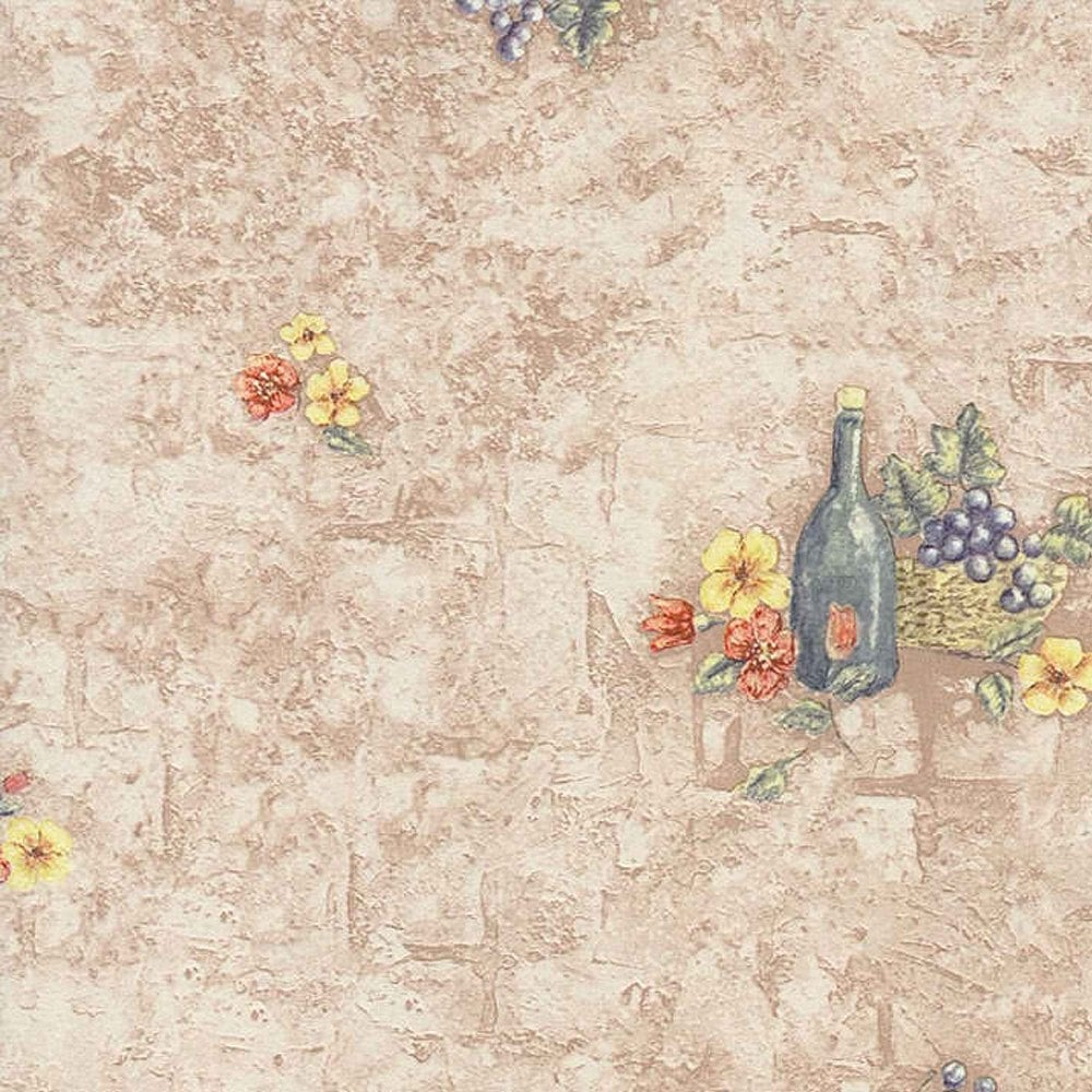 Fine Decor Grapes And Wine Wallpaper Taupe Green 42738