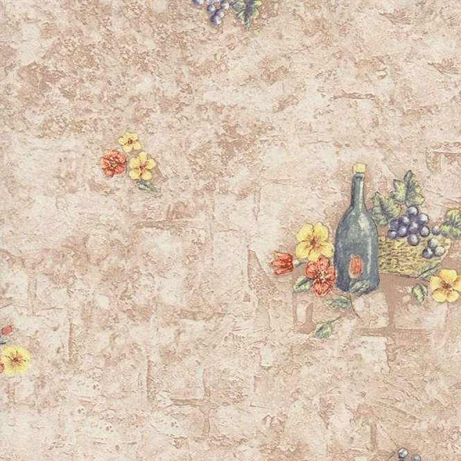 Fine Decor Grapes and Wine Wallpaper Taupe / Green (42738)