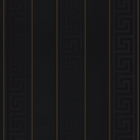 Greek Stripe Wallpaper Black Gold