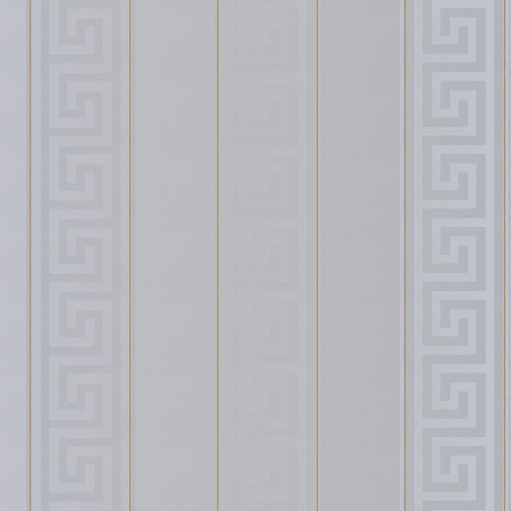 Versace Greek Stripe Wallpaper Silver Gold Wallpaper