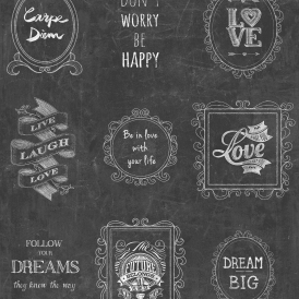 Happy Life Frames Wallpaper Black White