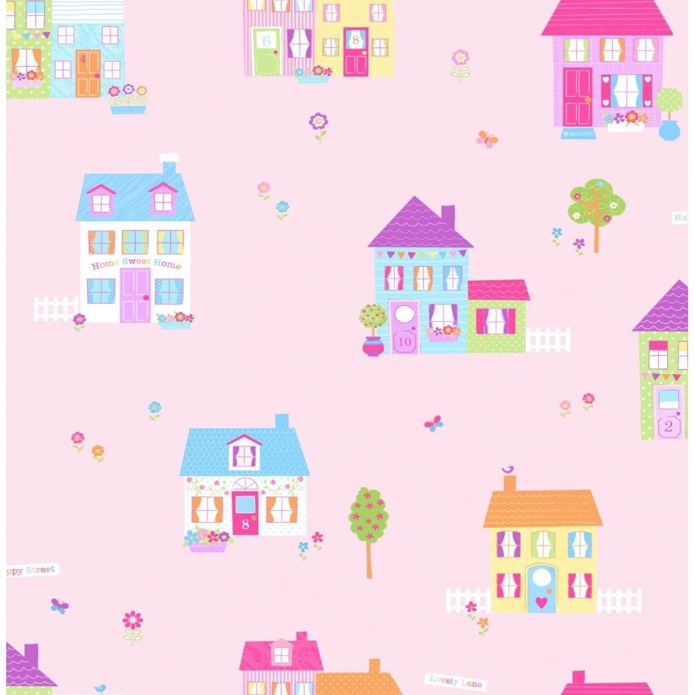 Buy fine decor fun4walls happy street childrens wallpaper pink for Children s mural wallpaper