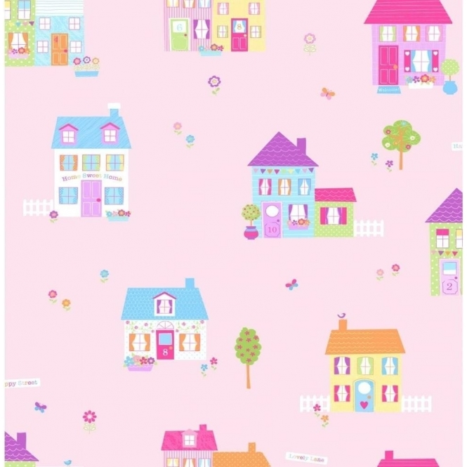 Fun4Walls Happy Street Childrens Wallpaper Pink / Multi-Coloured (WP31255)