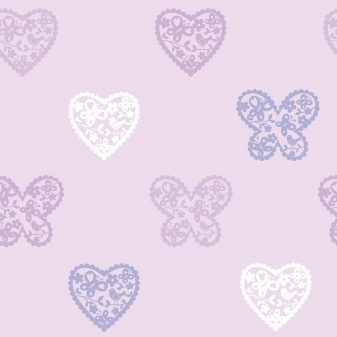Designer Selection Hearts and Butterflies Wallpaper Lilac / Purple / White (01429HAB)