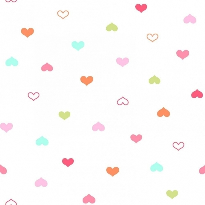 Designer Selection Hearts Wallpaper White / Multicoloured (01429HEART)
