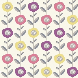 Helsinki Geo Flowers Wallpaper Pink Yellow