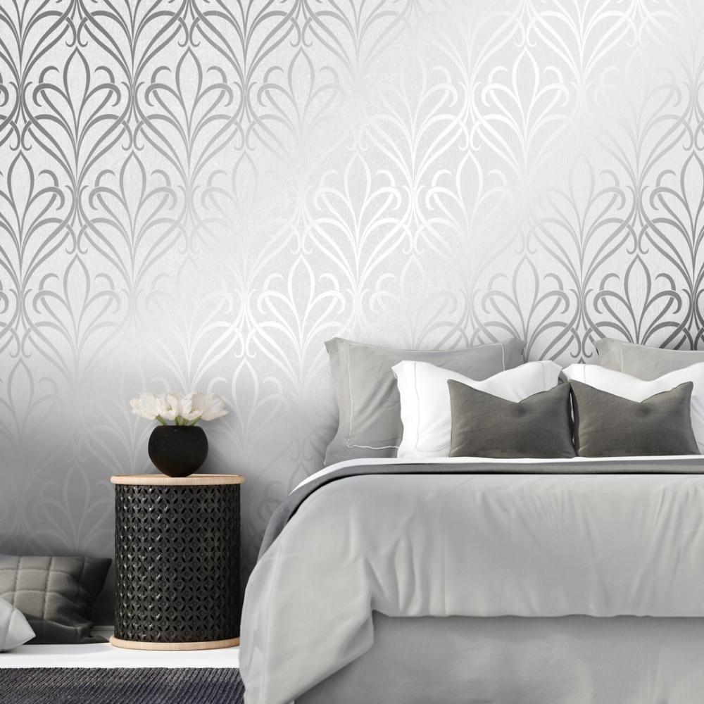 Camden Damask Wallpaper Soft Grey Silver