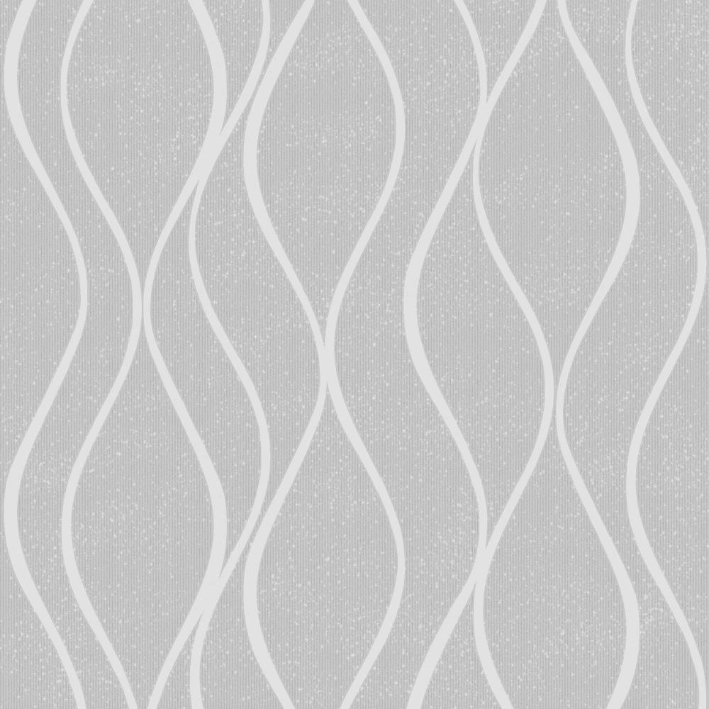 Camden Wave Textured Glitter Wallpaper Soft Grey H980516