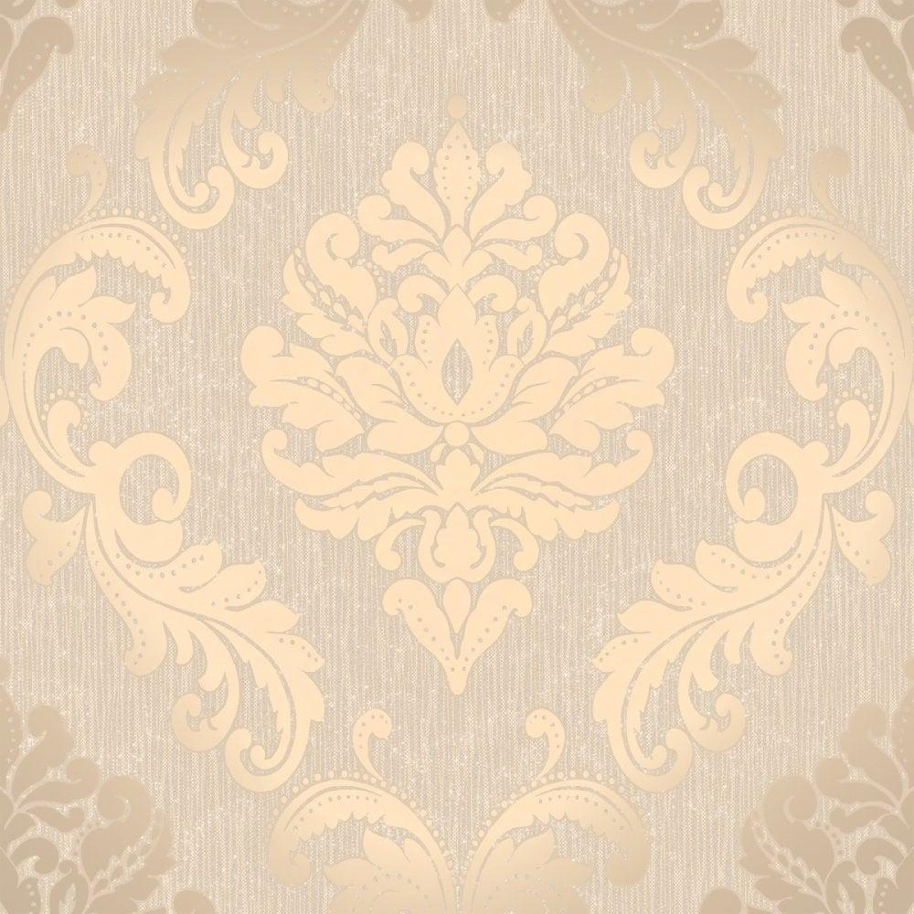Henderson Interiors Chelsea Glitter Damask Wallpaper Taupe Silver