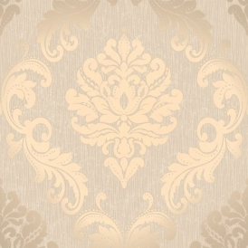 Chelsea Glitter Damask Wallpaper Taupe / Silver (H980512)