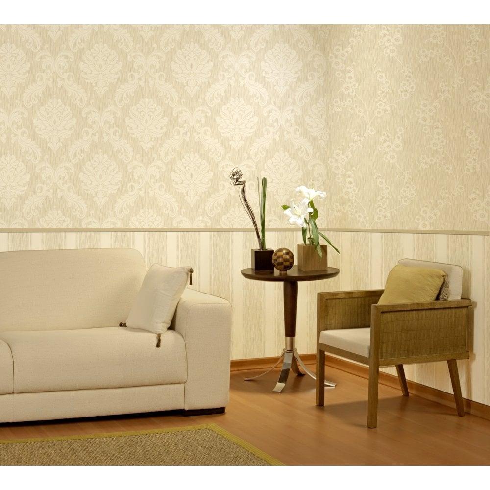 Chelsea Glitter Stripe Wallpaper Cream / Gold (H980509)