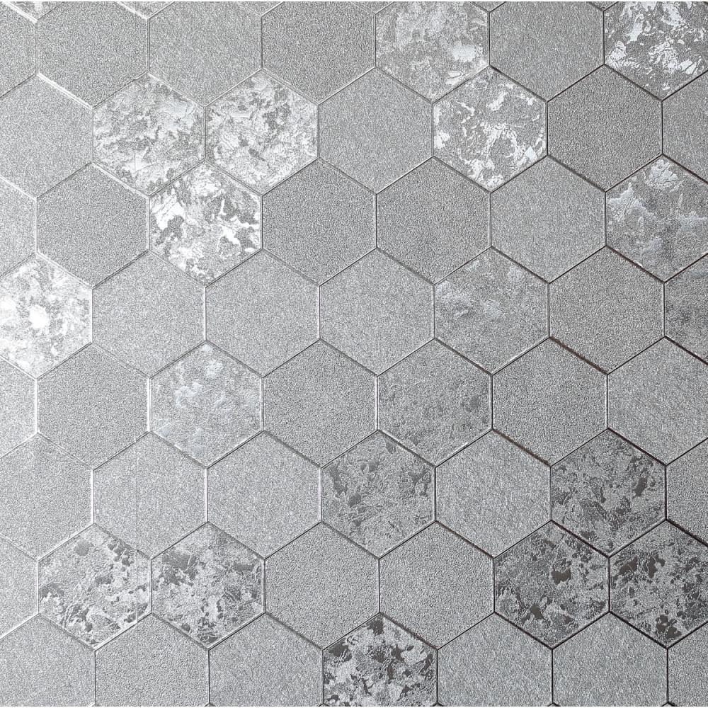 Henderson Interiors Geode Metallic Wallpaper Silver