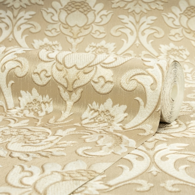 Henderson Interiors Sorrentino Textured Damask Wallpaper Gold (H9811)
