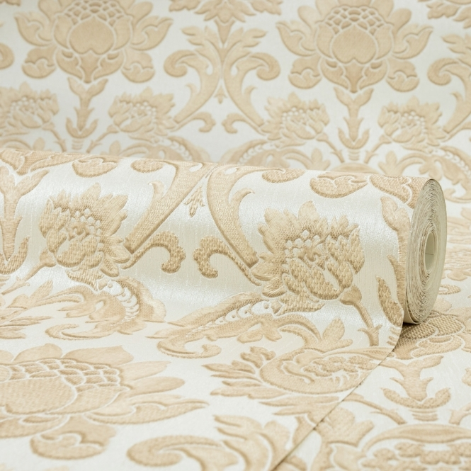 Henderson Interiors Sorrentino Textured Damask Wallpaper Natural (H9813)