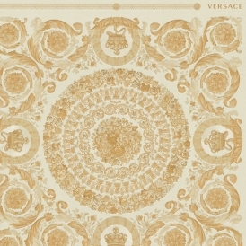 Heritage Oriental Tile Wallpaper Cream, Gold