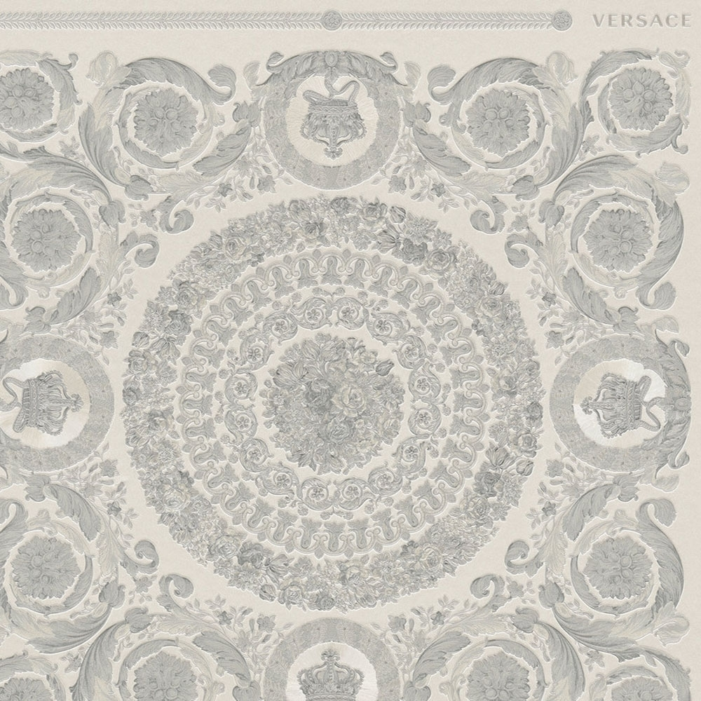 Versace Heritage Oriental Tile Wallpaper Grey Silver