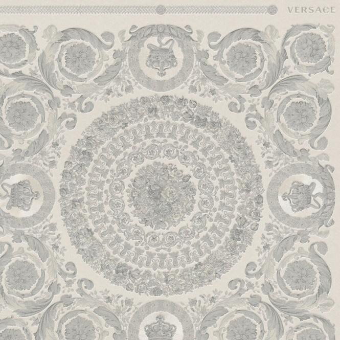 Versace Heritage Tile Wallpaper Grey, Silver