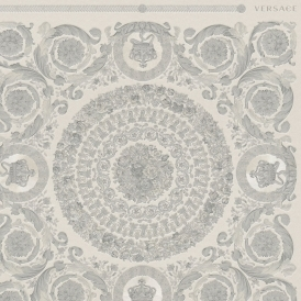 Heritage Tile Wallpaper Grey, Silver