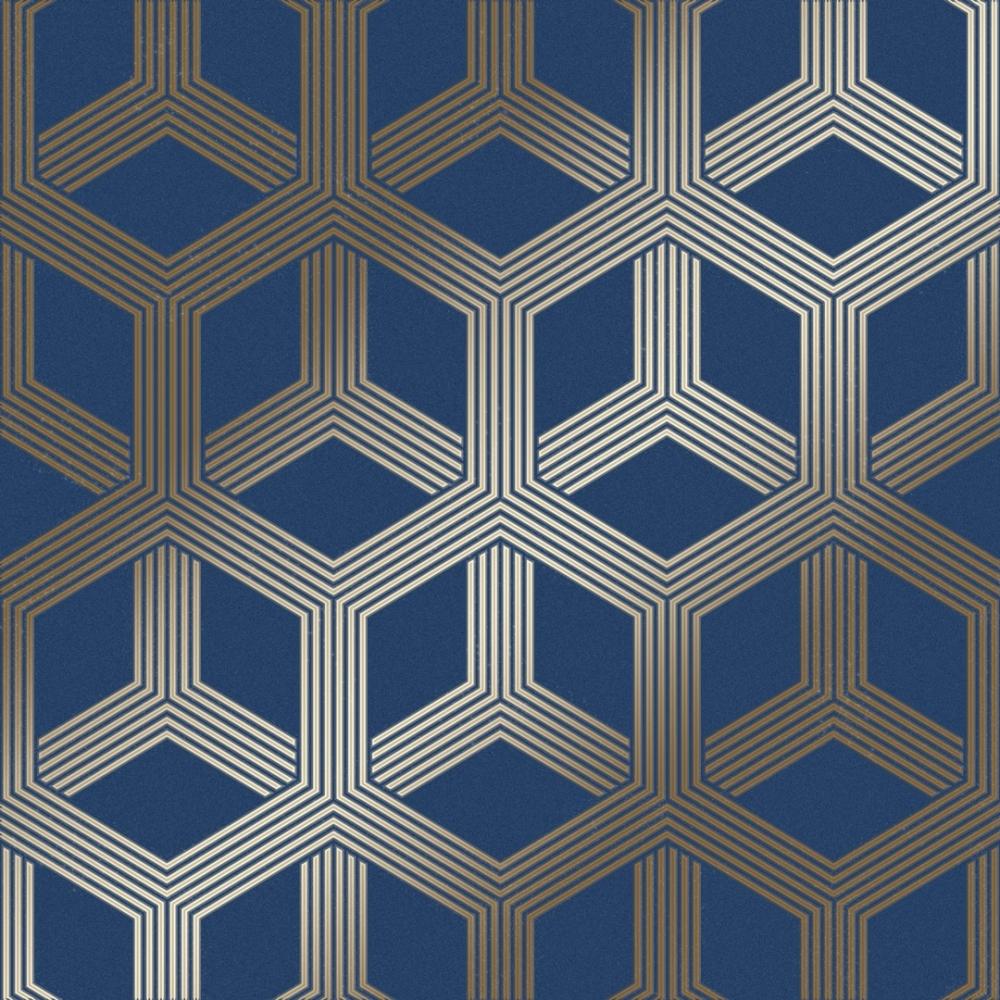 Hexa Geometric Wallpaper In Blue Gold I Love Wallpaper