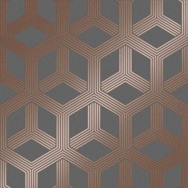 Hexa Geometric Wallpaper Charcoal, Rose Gold