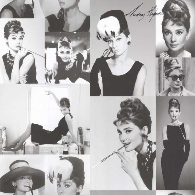 **Sample** Audrey Hepburn Celebrity Photo Wallpaper Black, White (97780-SAMPLE)