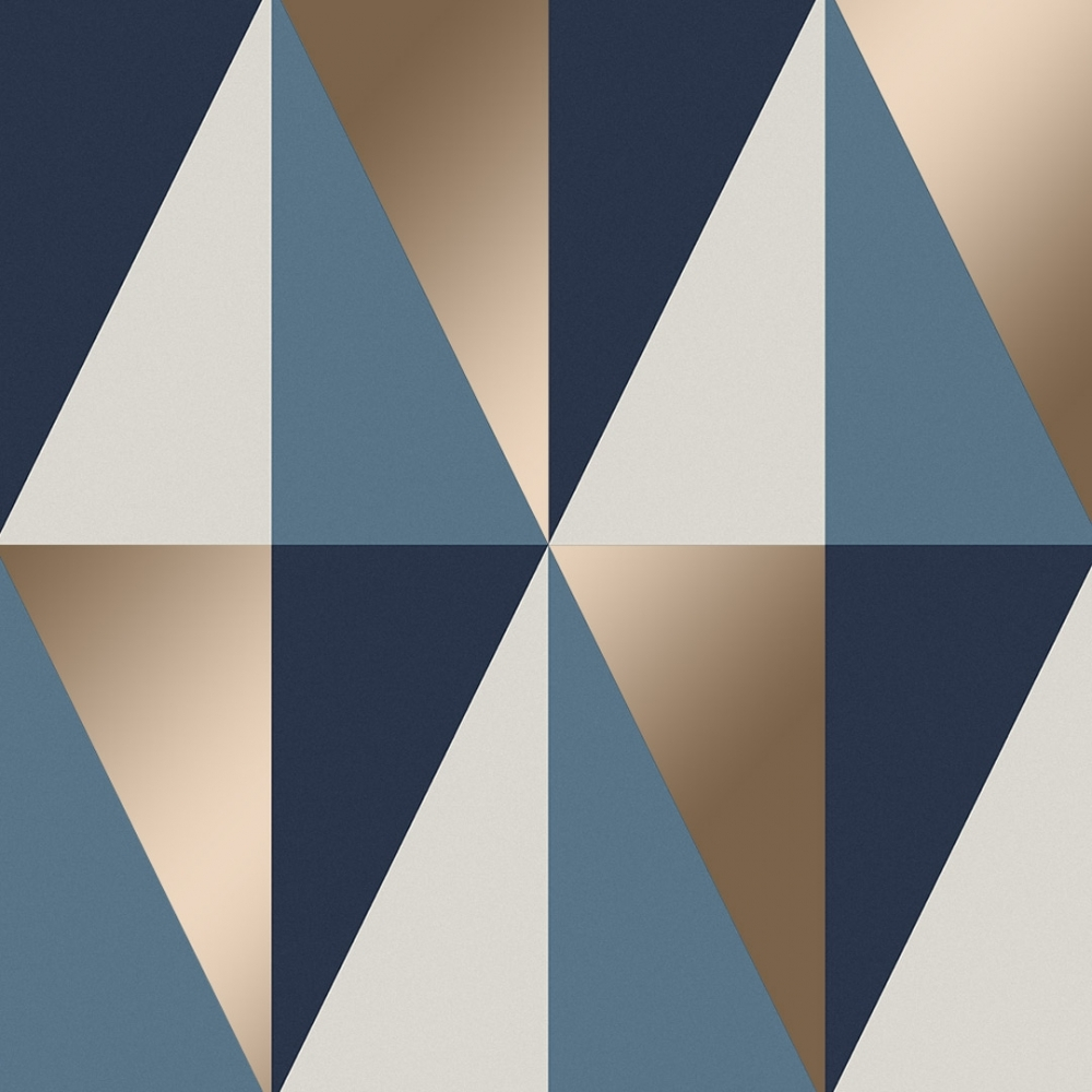 Horden Geometric Triangle Wallpaper Blue White Gold