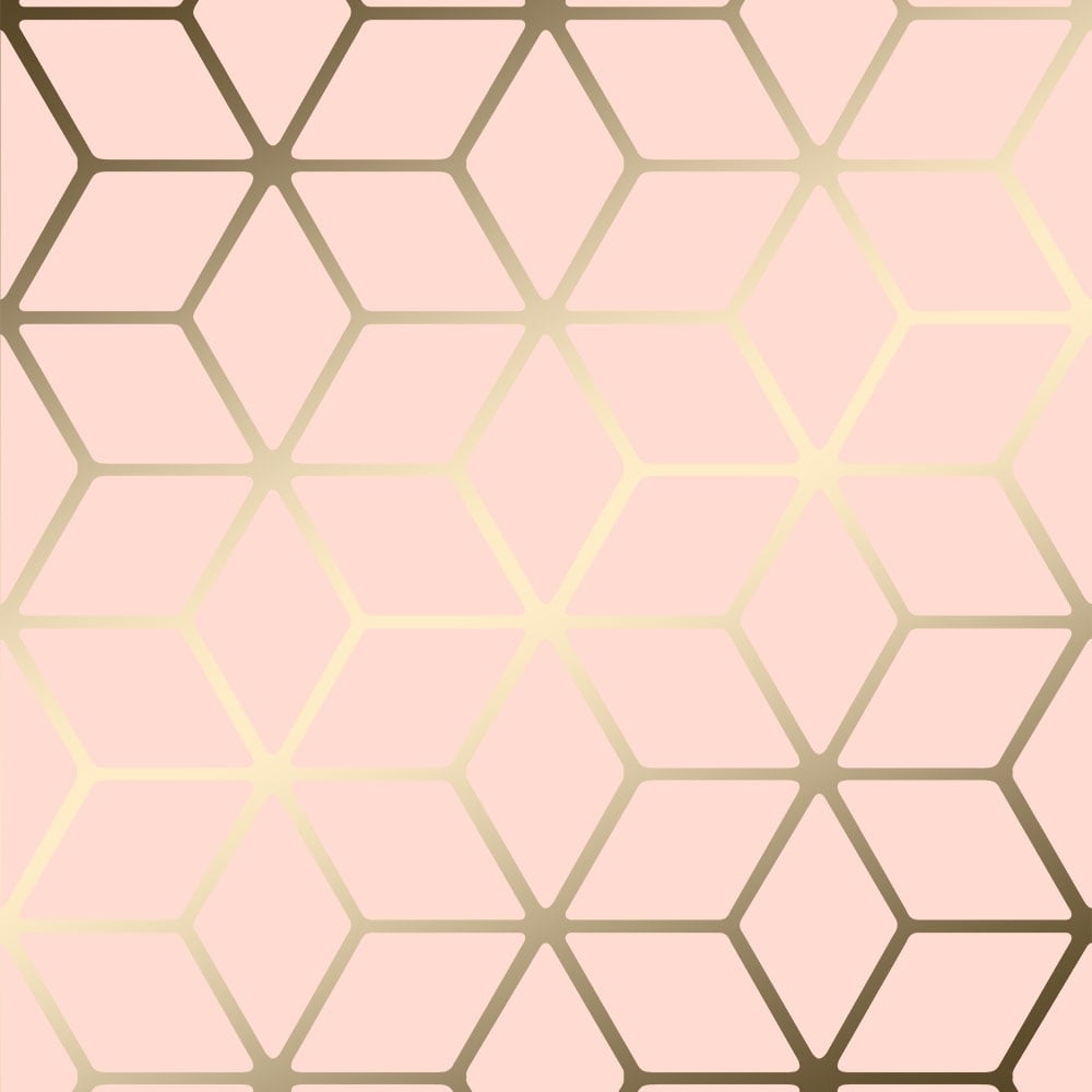 Cubic Shimmer Metallic Wallpaper Soft Pink Gold H264967
