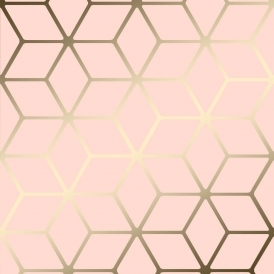 Cubic Shimmer Metallic Wallpaper Soft Pink, Gold (H264967)